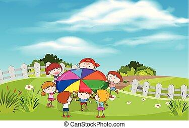 barn spela, hos, trädgård