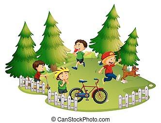 barn spela, i park