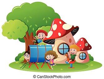 barn spela, in, lekplatsen