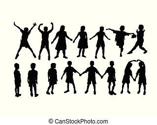 barn, sport, lycklig, silhouettes