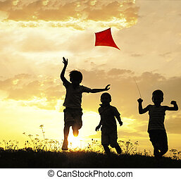 barn springa, med, glada