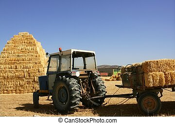 Barn stacked  and agriculture tractor