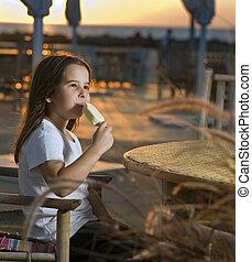 barn, strand, solnedgång, glass