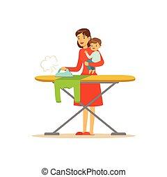 barn, strygning, super mor, klæder