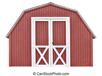 Barn style utility tool shed for garden and farm equipment,...