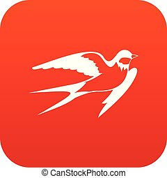 Barn swallow icon digital red