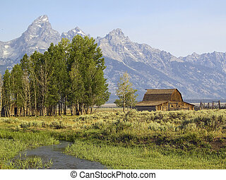 An old barn with corral and trees and the Grand Teton Range behind