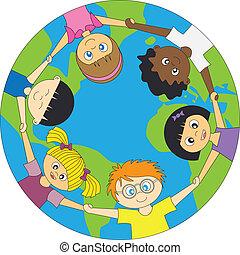 barn, värld, omkring