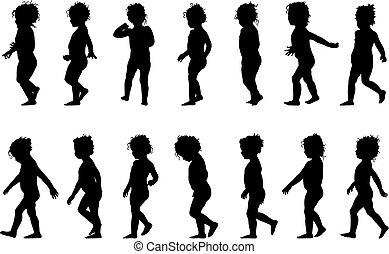 barn, vandrande