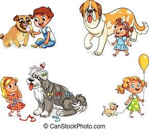 barn, vandrande, med, hund