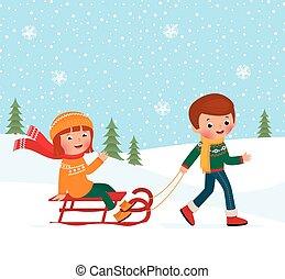 barn, vinter, slädåkning
