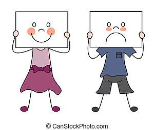barn, visande, deras, sinnesrörelser