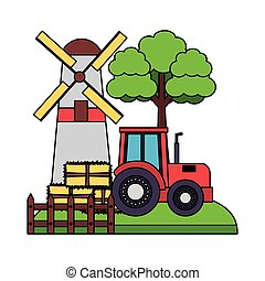 barn windmill tractor bales of hay tree