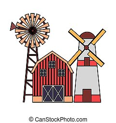 barn windmill tractor