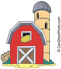Barn with granary - vector illustration.