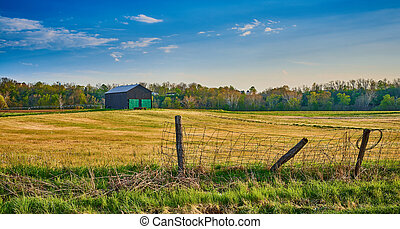 Barn with Old Wire Fence