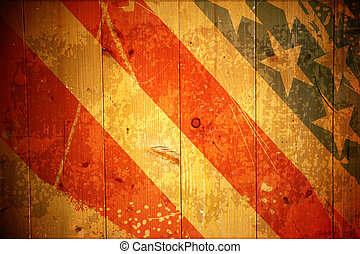 Wooden grunge background with the American flag