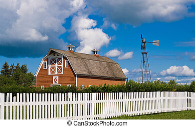 Barn Yard - A old red barn along with a weather vane shot...