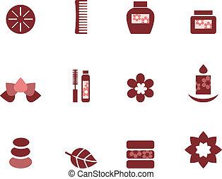 barna, állhatatos, &, ), wellness, ikonok, elszigetelt, (, ásványvízforrás, fehér
