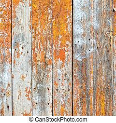 barna, öreg, festék, fából való, falusias, festett, háttér, repedt, deszkák