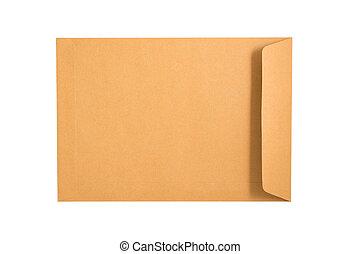 barna, boríték, elszigetelt, képben látható, egy, fehér, háttér., nyiradék út, included.