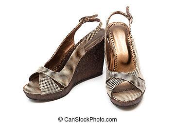 barna, cipők, női