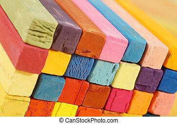 barna, elkészített, művészet, kék,  -, többszínű, háttér, eszközök, piros