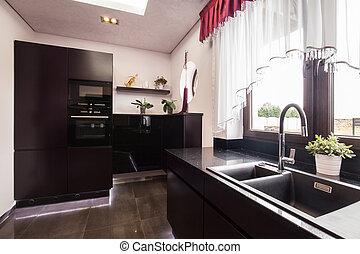 barna, fényűzés, faliszekrények, konyha