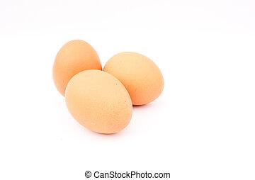 barna, feláll, elpirul háttér, becsuk, tojásdad, friss ...