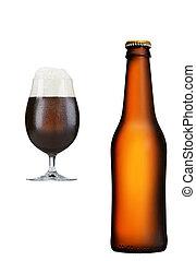 barna háttér, pohár, sörösüveg, fehér