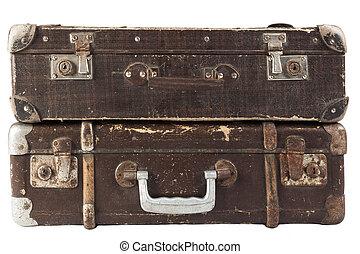 barna, két, bőrönd