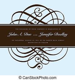 barna, keret, vektor, díszítés, választékos