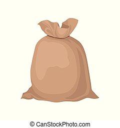 barna, kirúg, zsákvászon, lakás, tanya, nagy, rope., flour., bekötött, elem, promo, vektor, gabona, táska, poszter, termékek, transzparens, vagy