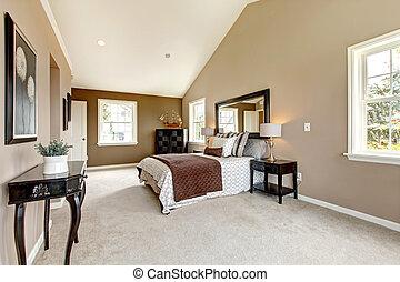 barna, klasszikus, nagy, fényűzés, hálószoba, white.