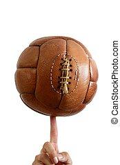 barna, labda, megkorbácsol, szüret, labdarúgás, retro
