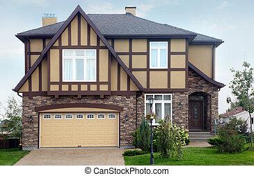 barna, megkövez, two-storied, garázs, nyersgyapjúszínű bezs, villaház, új, roof.