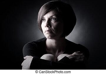 barna nő, lövés, meglehetősen, feláll, látszó, alacsonyabb kulcs, hölgy
