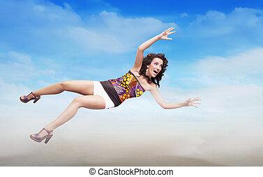 barna nő, szépség, halmok, felett, ég, fiatal, ugrás, háttér, copy-space