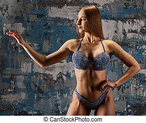 barna nő, szexi, állóképesség, leány