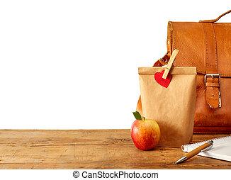 barna táska, ebédel, és, jegyzetfüzet, képben látható, asztal