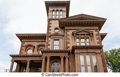 barna, választékos, öreg építészet, épület