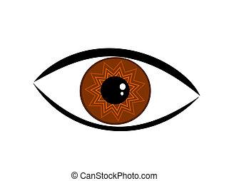 barna, vektor, szem