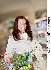 barna, woman bevásárol, sorozat, -, haj, kosár