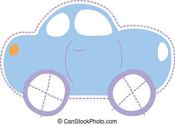 barndom, litet, bil