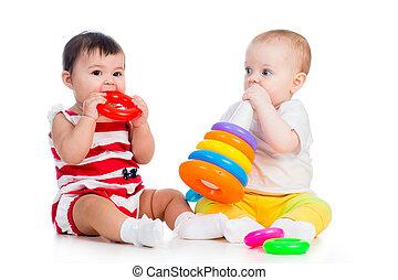 barnen, flickor, leka, leksak, tillsammans