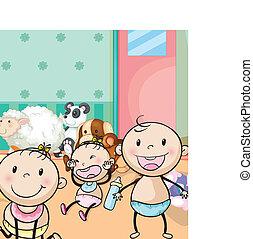 barnen, och, djur, toys