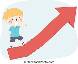 barnet, fremmarch, oppe, dreng, pil, illustration
