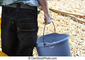 barnet, hjælper, vask, automobilen