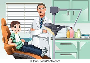 barnet, ind, kontor tandlæge