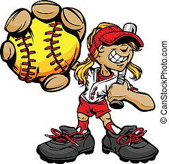 barnet, spiller, basebal, holde, softball